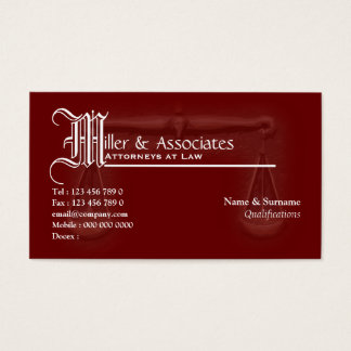 Law legal attorney advocate burgundy business card