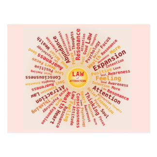 Law of Attraction Word Cloud Yellow Orange Colors Postcard