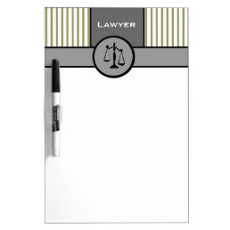 Law Office Attorney Elegant Pinstripes Gray Cream Dry Erase Board