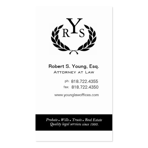 Law Offices Attorney Lawyer Laurel Wreath Monogram Business Card Template