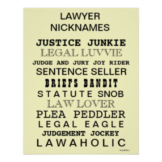 Law Poster - Funny Lawyer Nicknames and Synonyms