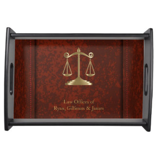 Law | Scales of Justice | Lawyer | Brownish Red Serving Tray