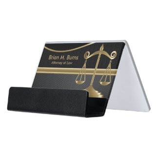 Law | Scales of Justice | Lawyer - Gold and Black Desk Business Card Holder