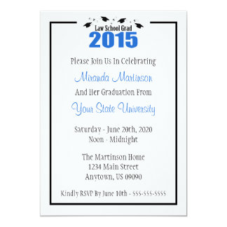 Law School 2015 Graduation Invite (Blue Caps)