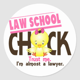 Law School Chick 3 Round Stickers