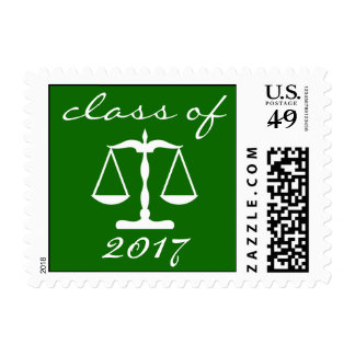 Law School Class Of 2017 (Green Scales Of Justice) Postage