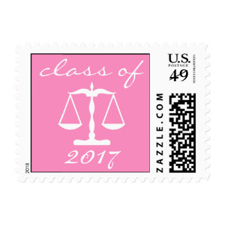 Law School Class Of 2017 (Pink Scales Of Justice) Postage