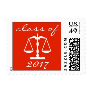 Law School Class Of 2017 (Red Scales Of Justice) Postage