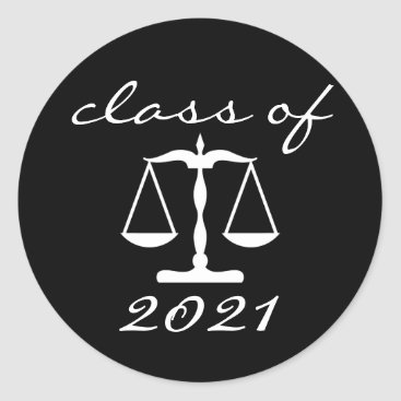 Law School Class Of 2021 (Black Scales Of Justice) Classic Round Sticker