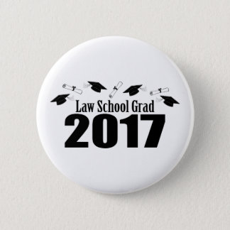 Law School Grad 2017 Caps And Diplomas (Black) Pinback Button
