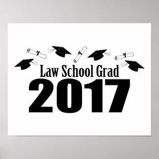 Law School Grad 2017 Caps And Diplomas (Black) Poster