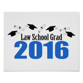 Law School Grad Class Of 2016 Caps (Blue) Poster