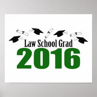 Law School Grad Class Of 2016 Caps (Green) Poster