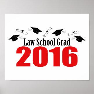Law School Grad Class Of 2016 Caps (Red) Poster