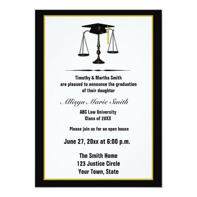 Law School Graduate Annoucement 5x7 Paper Invitation Card