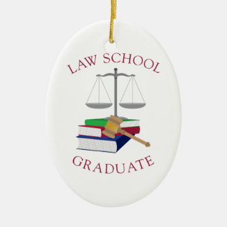 Law School Graduate Double-Sided Oval Ceramic Christmas Ornament