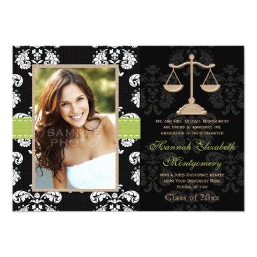 Lawyer Themed Law School Graduation Announcement Invitation Lime