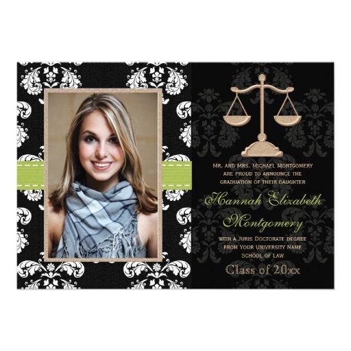 Law School Graduation Announcement Invitation Lime