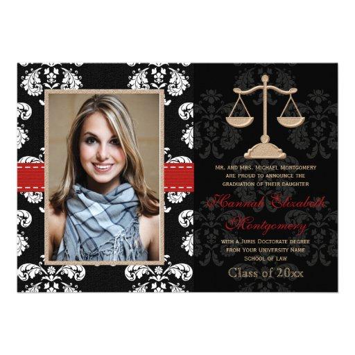 Law School Graduation Announcements Invitation Red