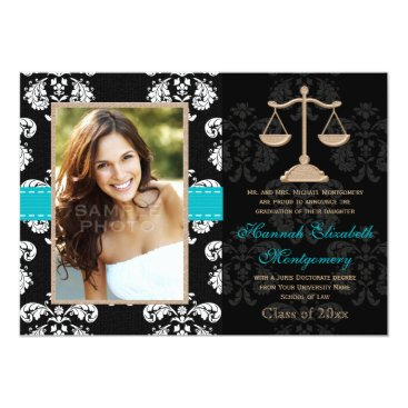 Lawyer Themed Law School Graduation Announcements Invites Blue
