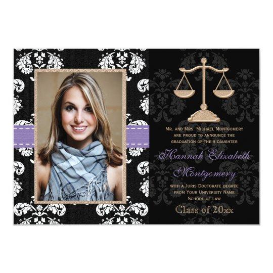 Law School Graduation Announcements Invites Purple