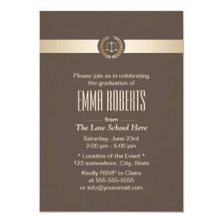 Law School Graduation Elegant Brown & Gold Card