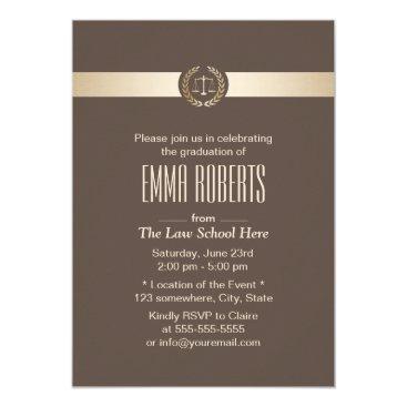 Beach Themed Law School Graduation Elegant Brown & Gold Card