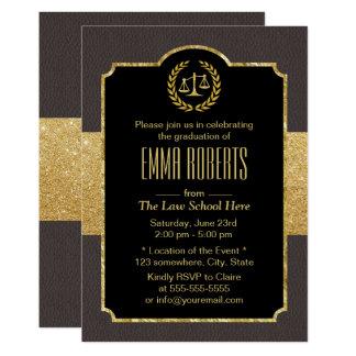 Law School Graduation Elegant Brown & Gold Lawyer Card