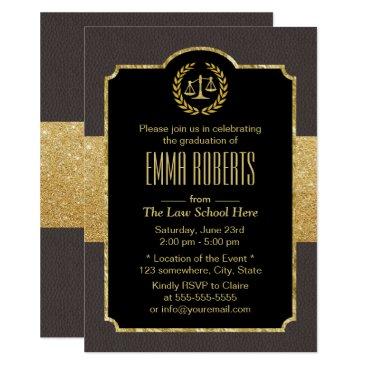 Beach Themed Law School Graduation Elegant Brown & Gold Lawyer Card