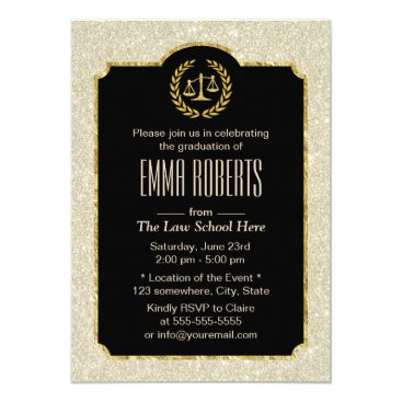 Lawyer Themed Law School Graduation Elegant Ivory Glitter Lawyer Card