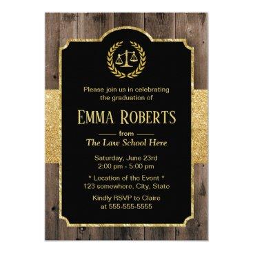 Law School Graduation Elegant Wood Gold Lawyer Invitation