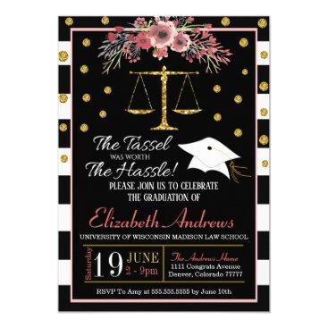 Law School Graduation Invitation -Floral