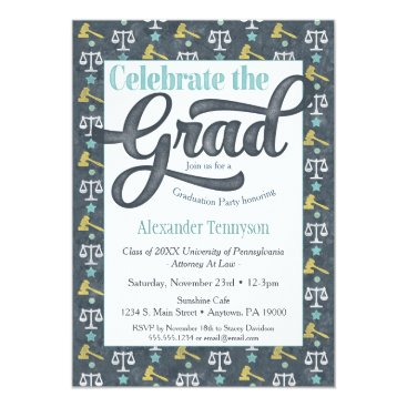 Lawyer Themed Law School Graduation Invitation Lawyer Gray Aqua