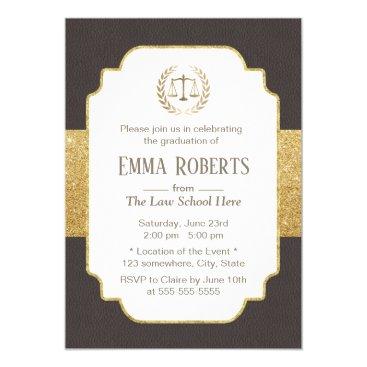 Law School Graduation Modern Brown & Gold Lawyer Invitation
