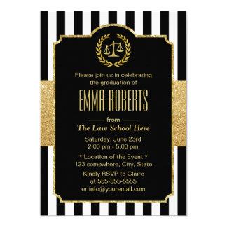 Law School Graduation Modern Stripes Gold Lawyer Card