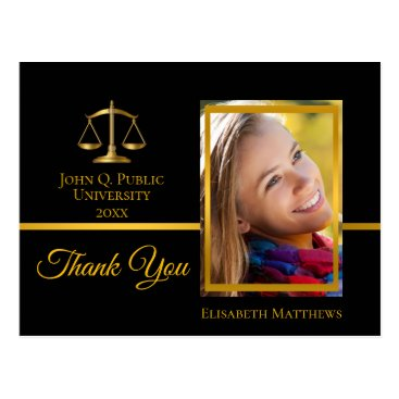 Law School Graduation Name Photo Thank You Postcard