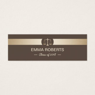 Law School Graduation Name Tag Brown & Gold Insert