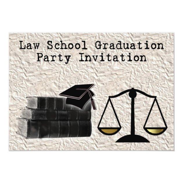 Law School Graduation Party Invitation scales book ...