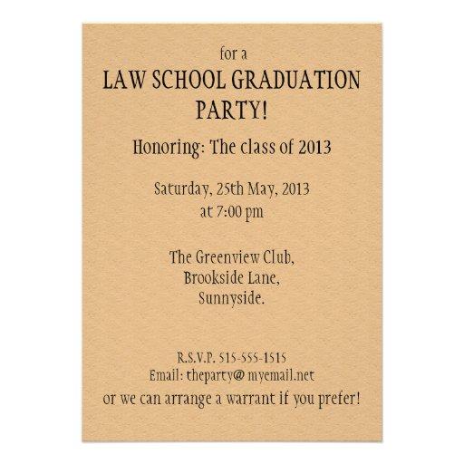 Law School Graduation Party Invitation Summons