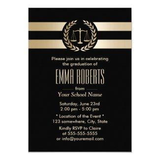 Law School Graduation Party Modern Black & Gold Invitation