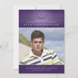 Law School Graduation Photo Announcement | Purple