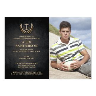 Law School Graduation with Laurel Wreath & Scales 5x7 Paper Invitation Card