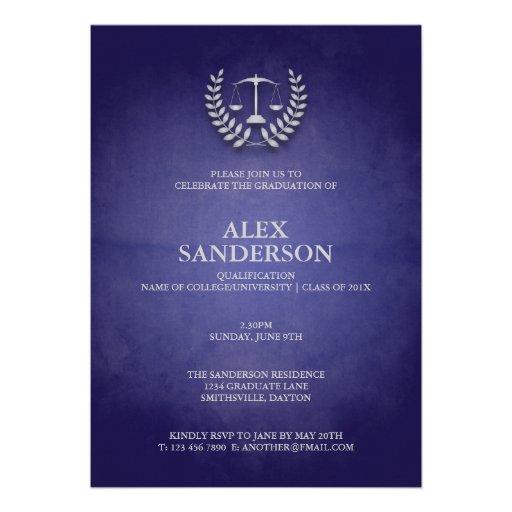 Law School Graduation with Laurel Wreath & Scales Invite