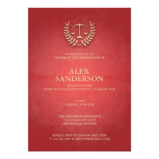 Law School Graduation with Laurel Wreath & Scales Invitations