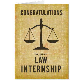 Law School Internship Congratulations Scale of Jus Card