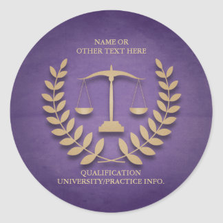 Law School | Justice Scales and Laurel Wreath Classic Round Sticker