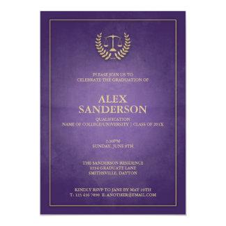 Law School Laurel Wreath & Scales Graduation 5x7 Paper Invitation Card