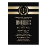 Law School Modern Black & Gold Graduation Party Card