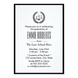 Law School Simple Plain Black Border Graduation 5x7 Paper Invitation Card