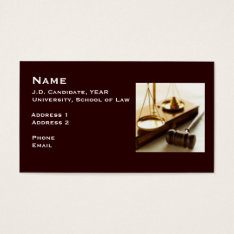 Law Student Business Card 1 at Zazzle